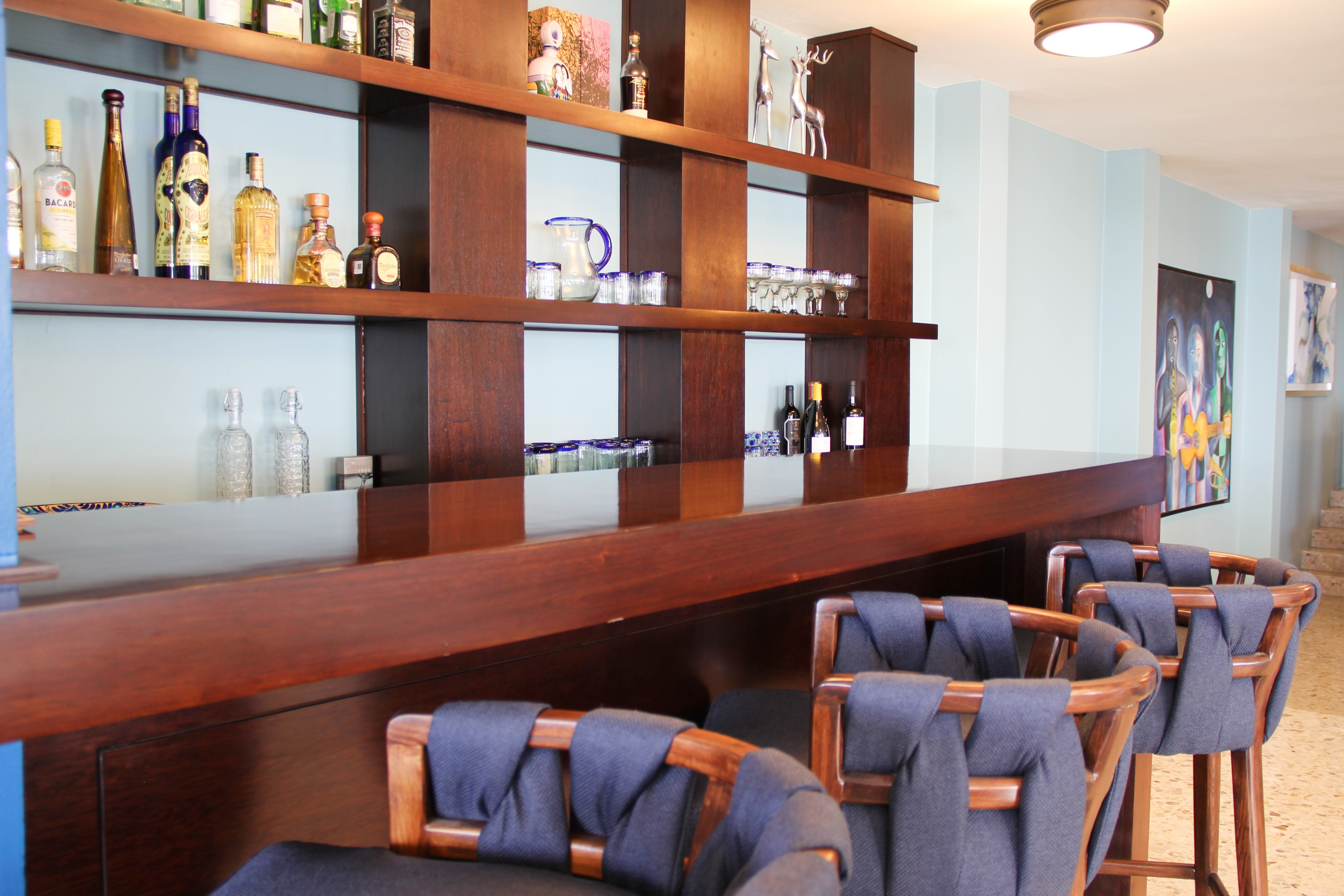 Bar seating for guests.