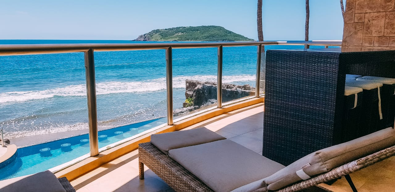 Beautiful ocean views from private terrace.