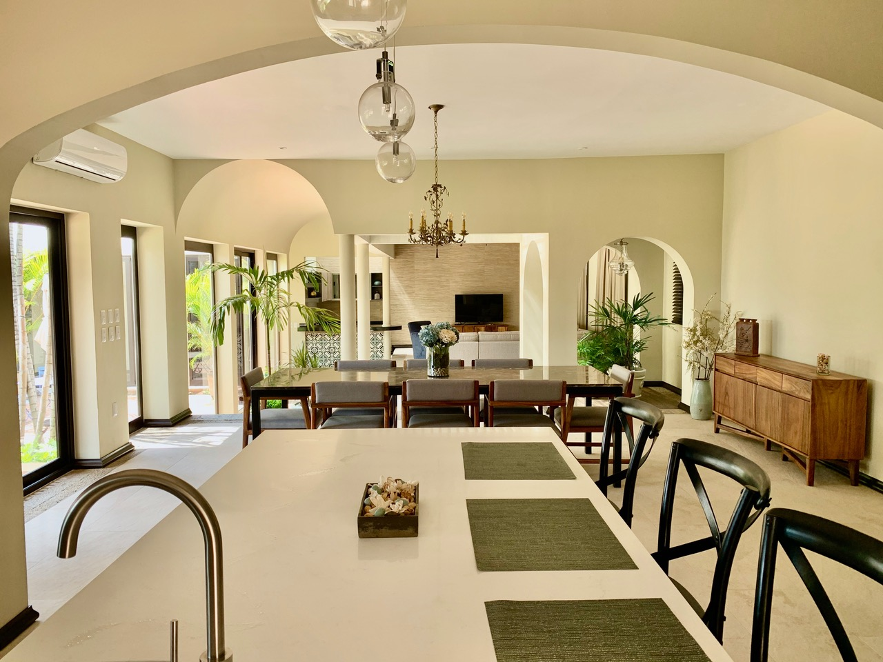 View from kitchen to dining room.