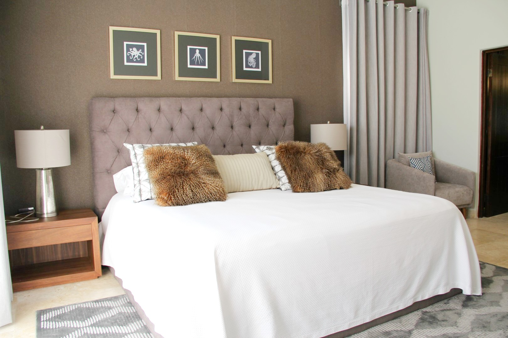 Master bedroom with seating area.