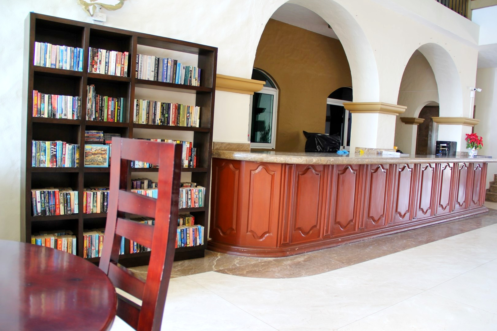 Administration and book exchange in the lobby.