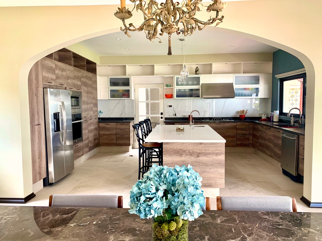 Custom kitchen with quatrz countertops.
