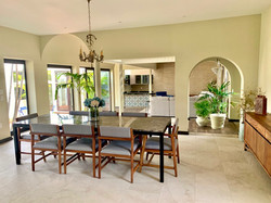 Custom dining table with seating for 8 people.