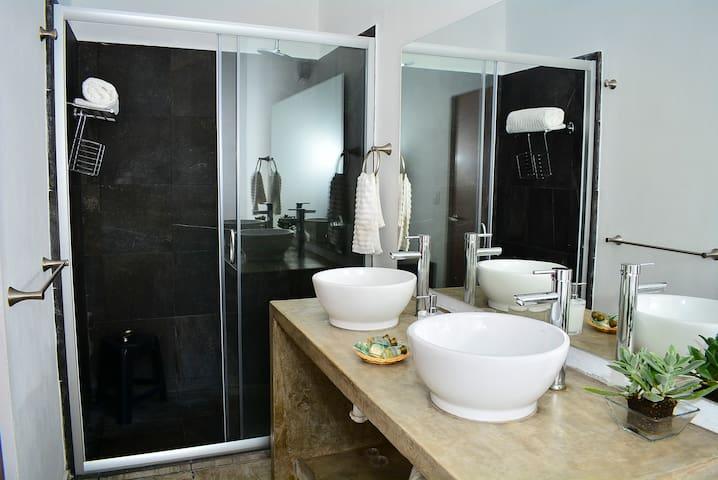 Double vanity in master bathroom.