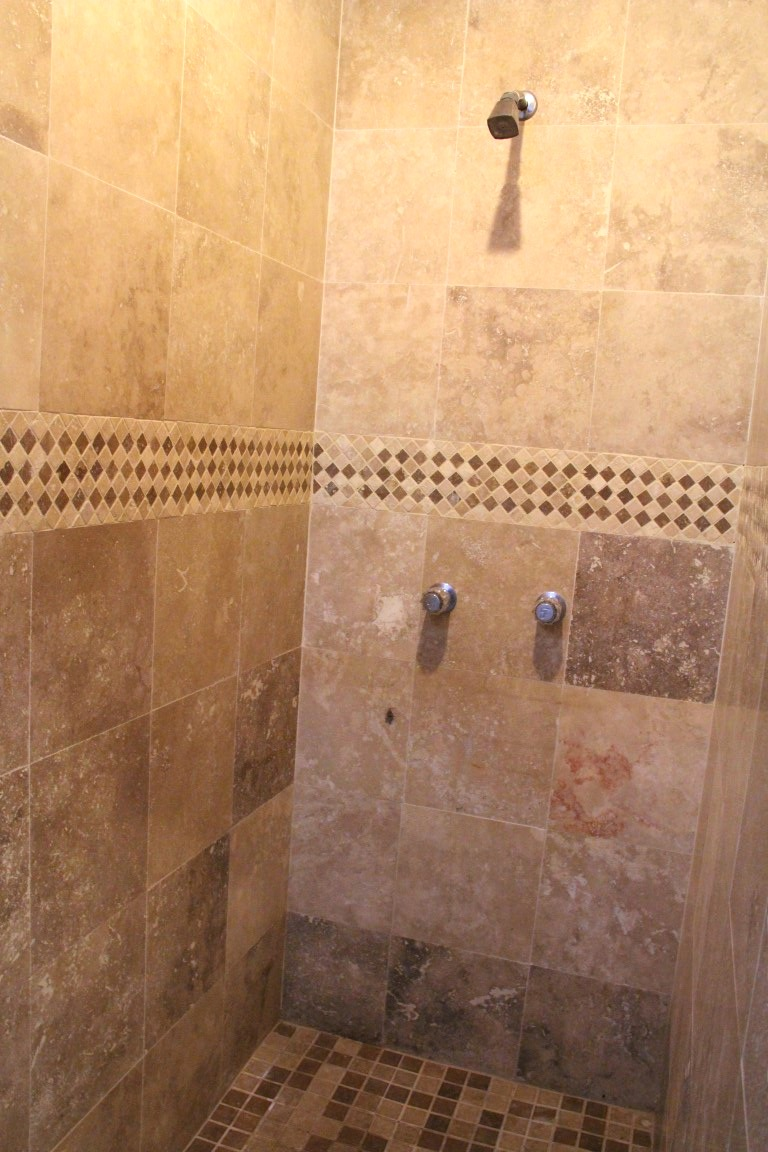 Large shower in master bathroom.