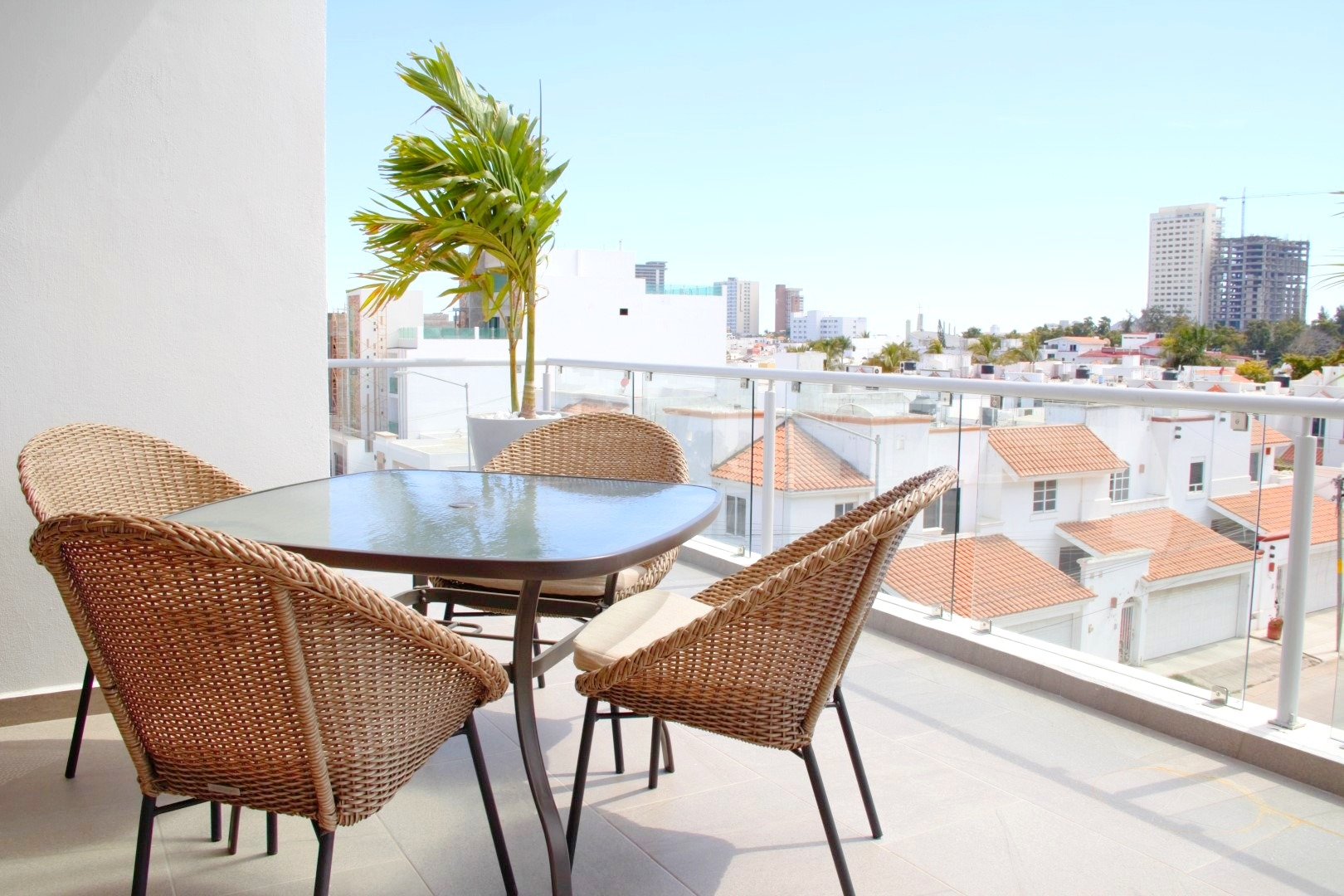 Outdoor dining on private terrace.