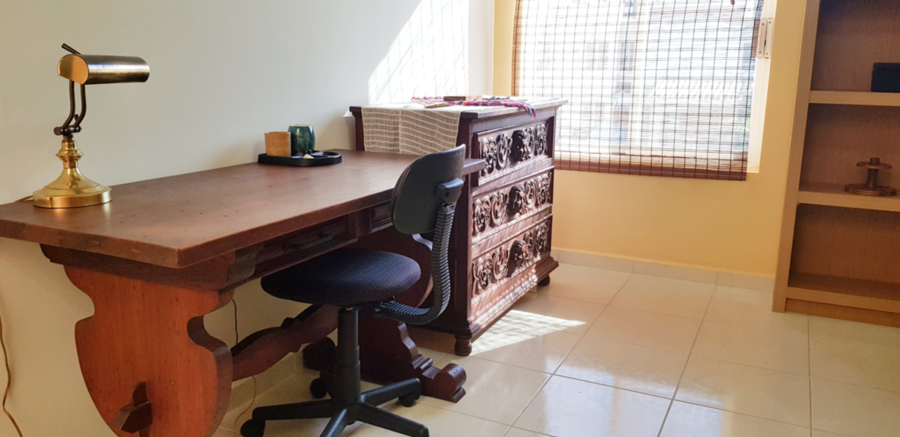 Upstairs desk and workspace.