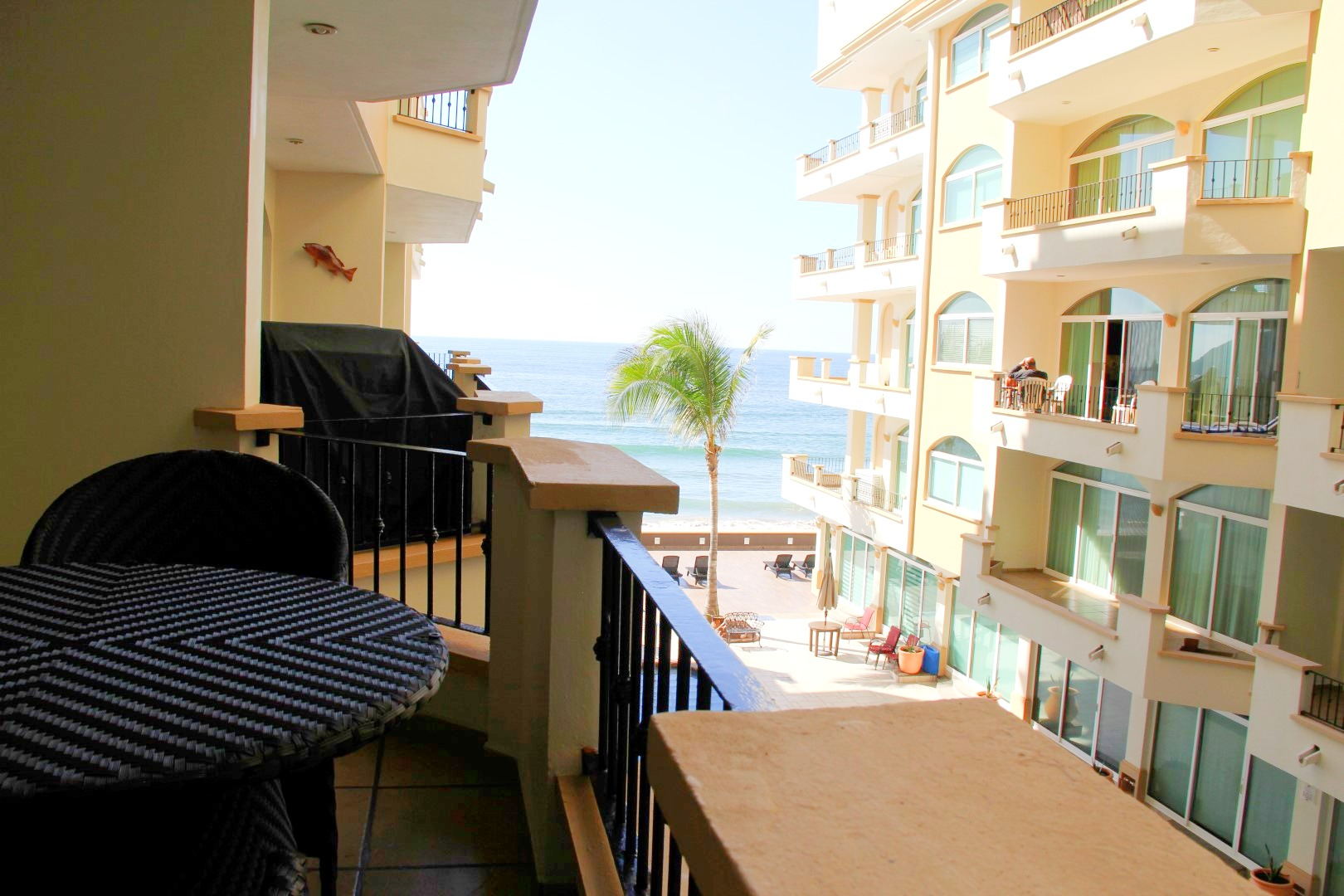 Patio with ocean views.