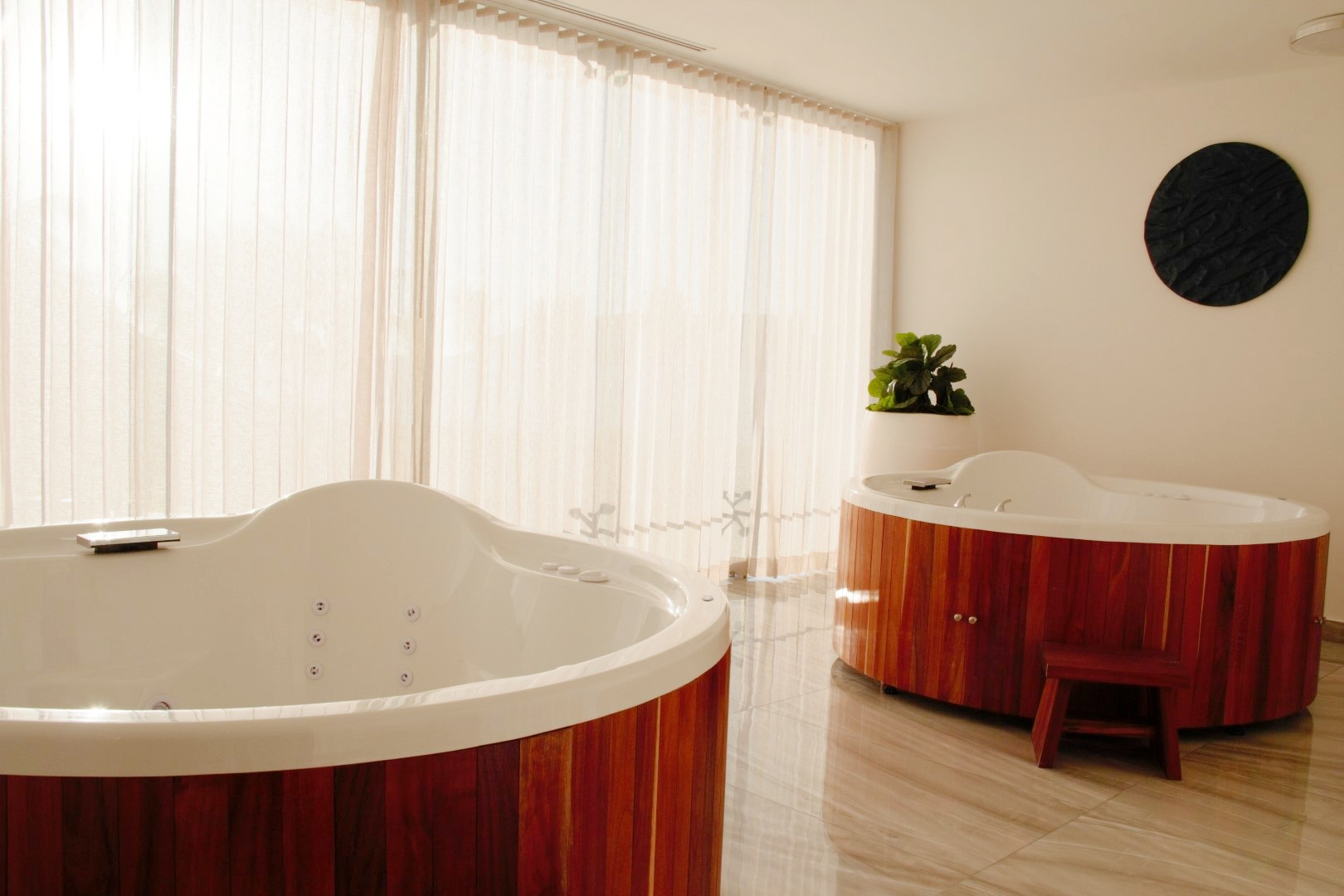 Jacuzzi tubs in spa area.