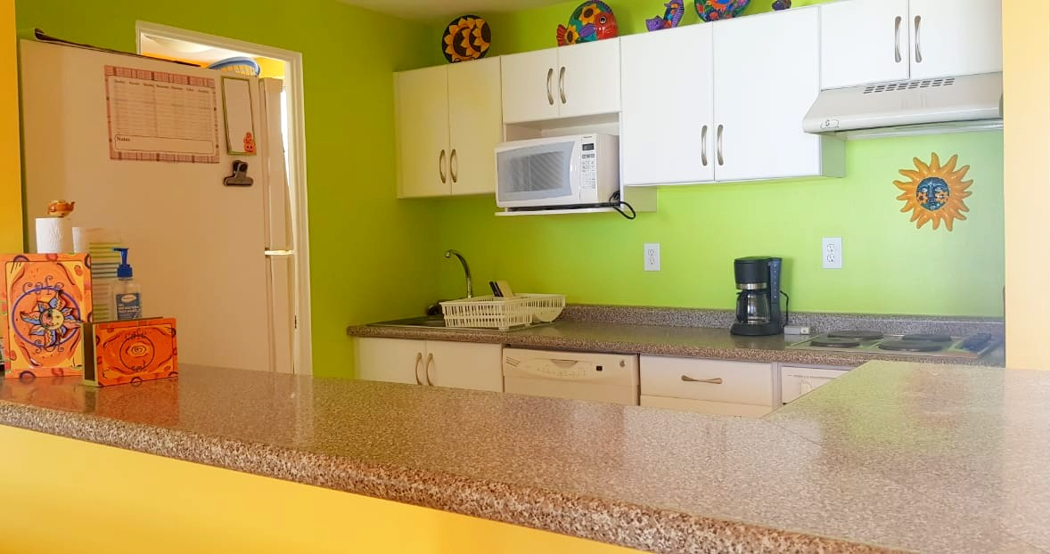 Bright and open kitchen.