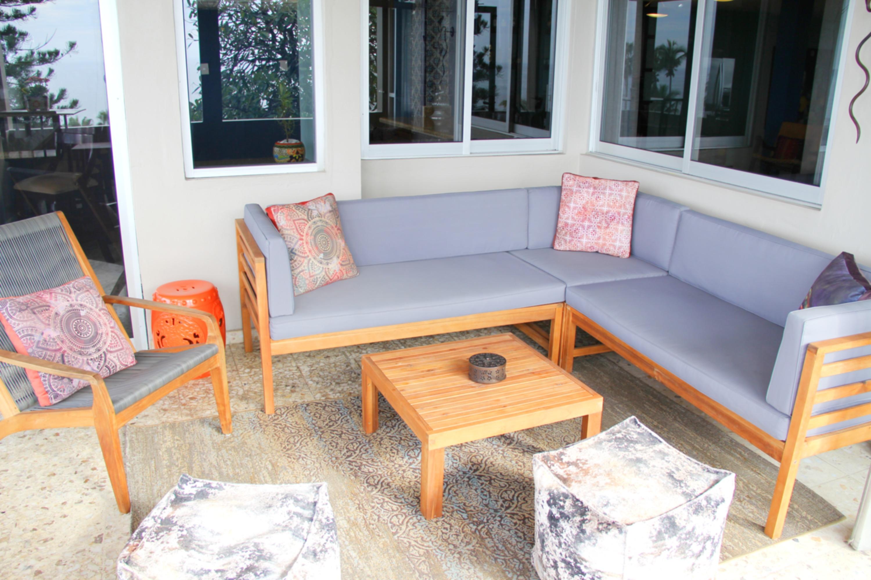 New, comfortable patio furniture.