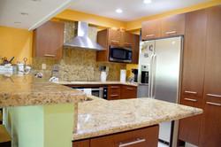 Large kitchen with plenty of storage.
