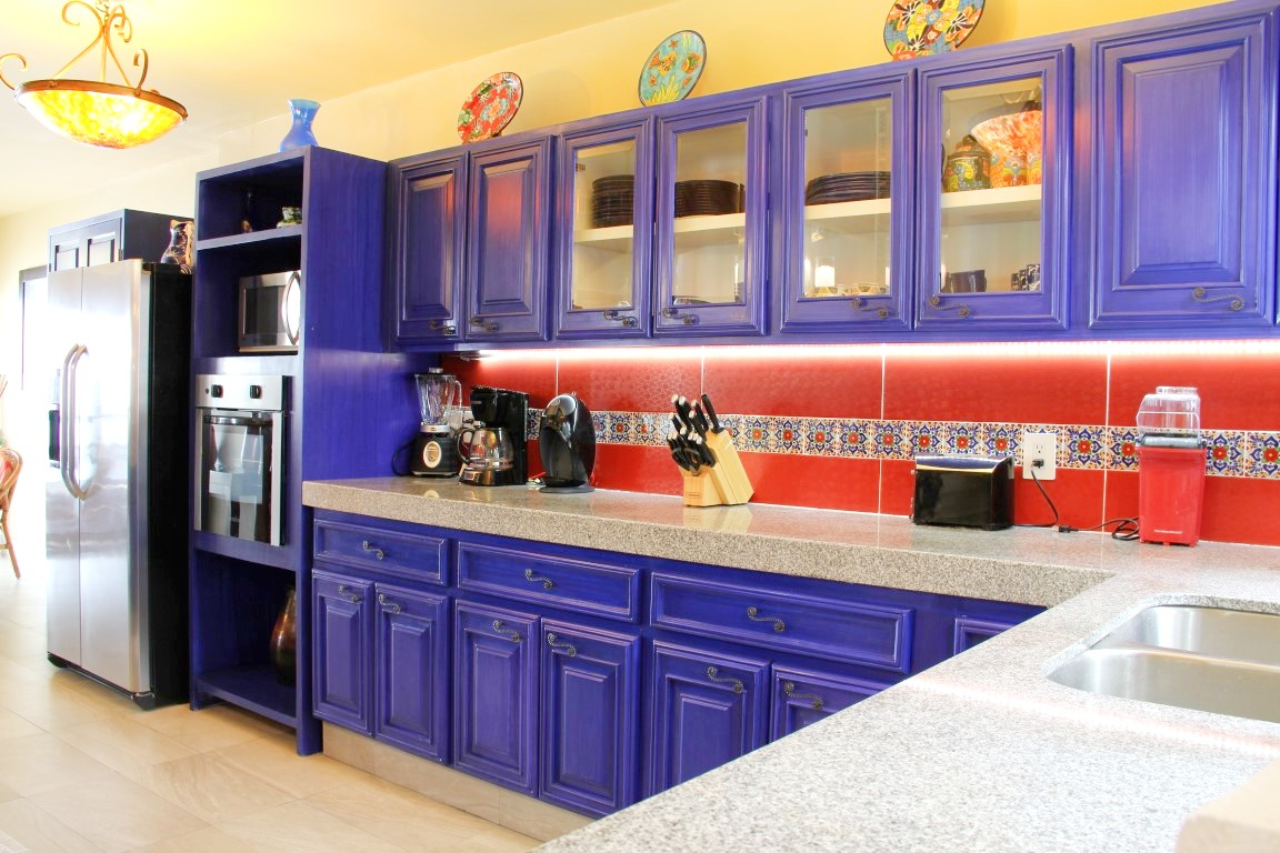 Colorful Mexican style kitchen.