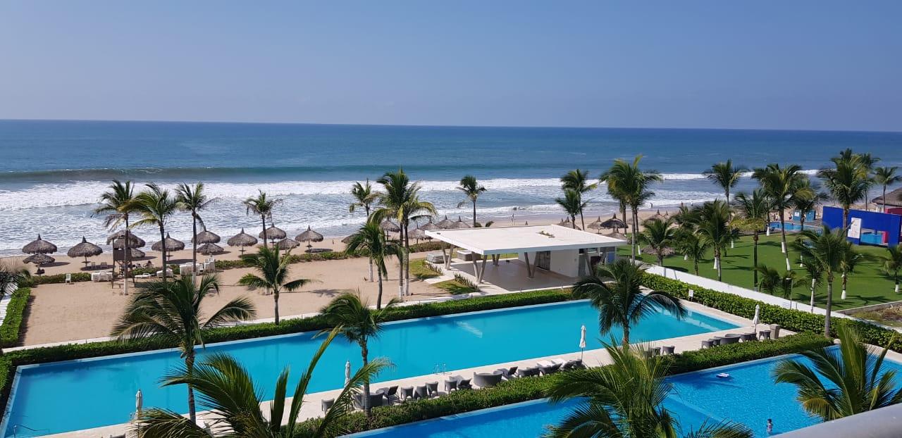 Pool and ocean views.