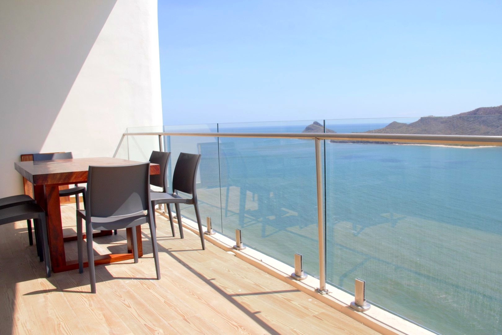 Large terrace with ocean views.
