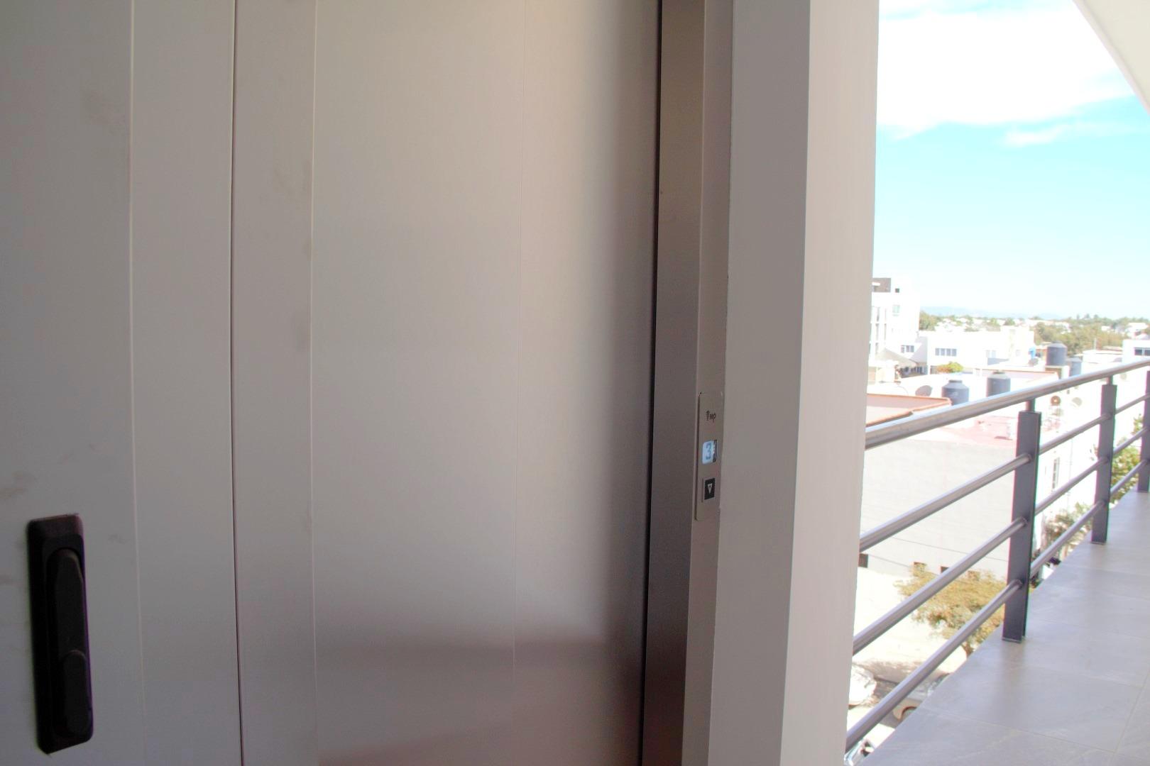 Building elevator.