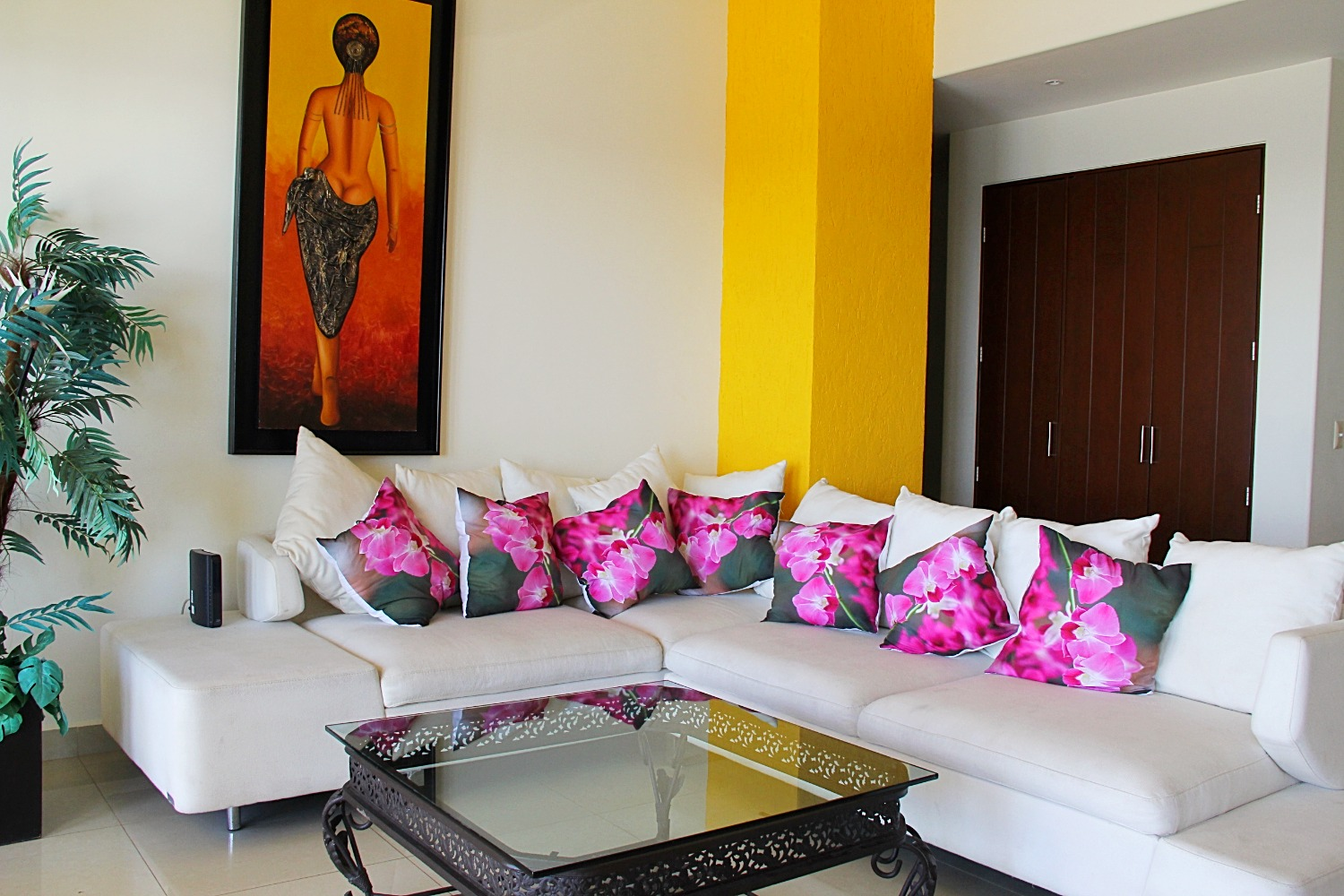 Bright sectional sofa.