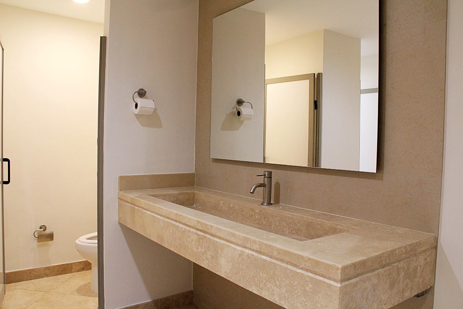 Shared bathrooms in spa area.