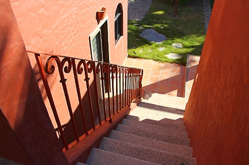 Stairs to private apartment.
