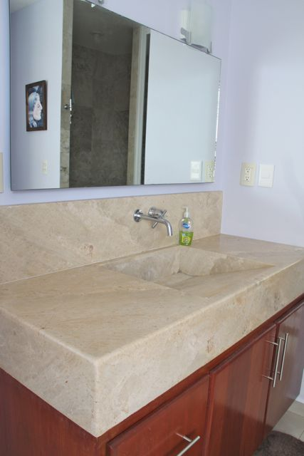 Large sink vanity in master bath.