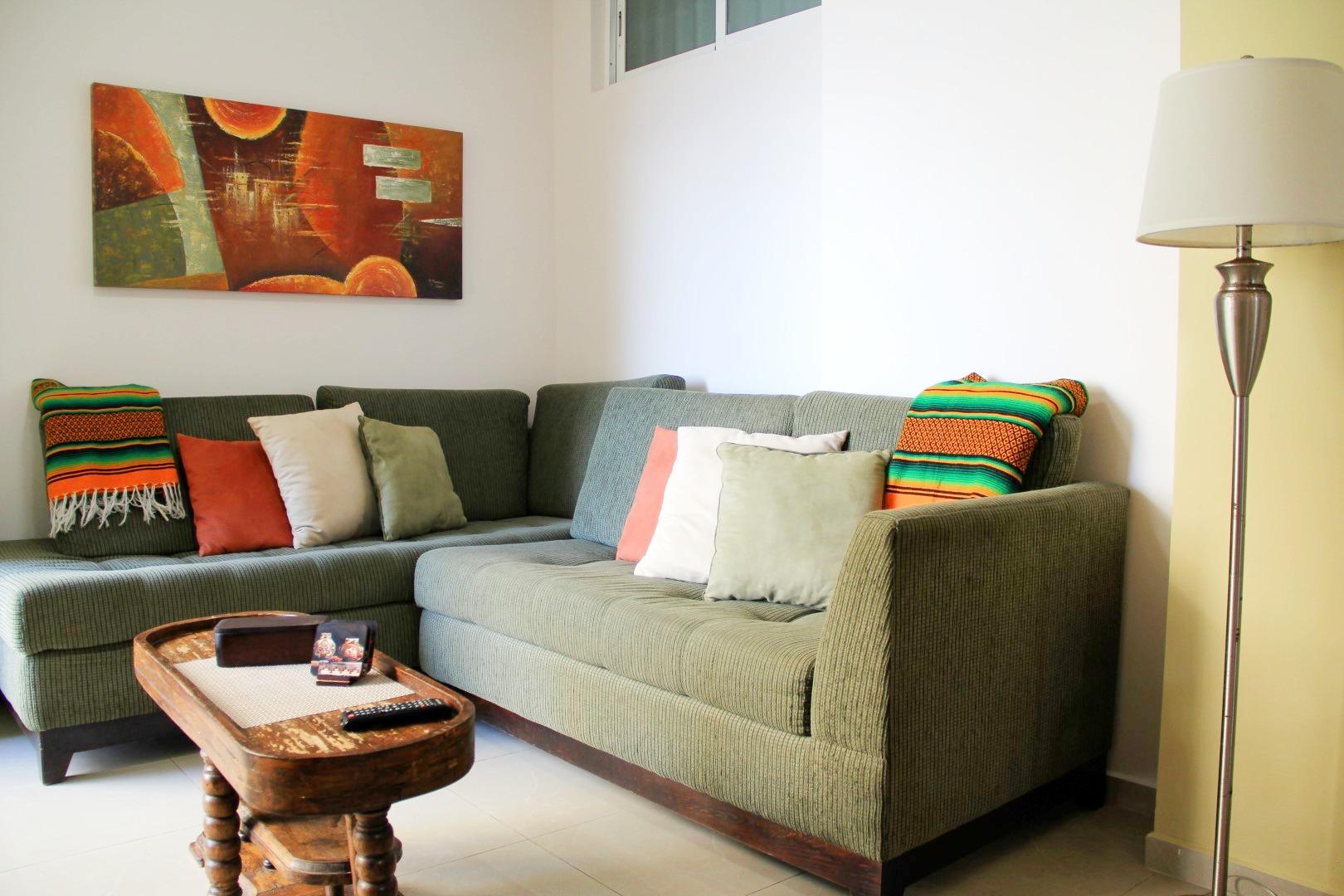 Comfortable sectional sofa.