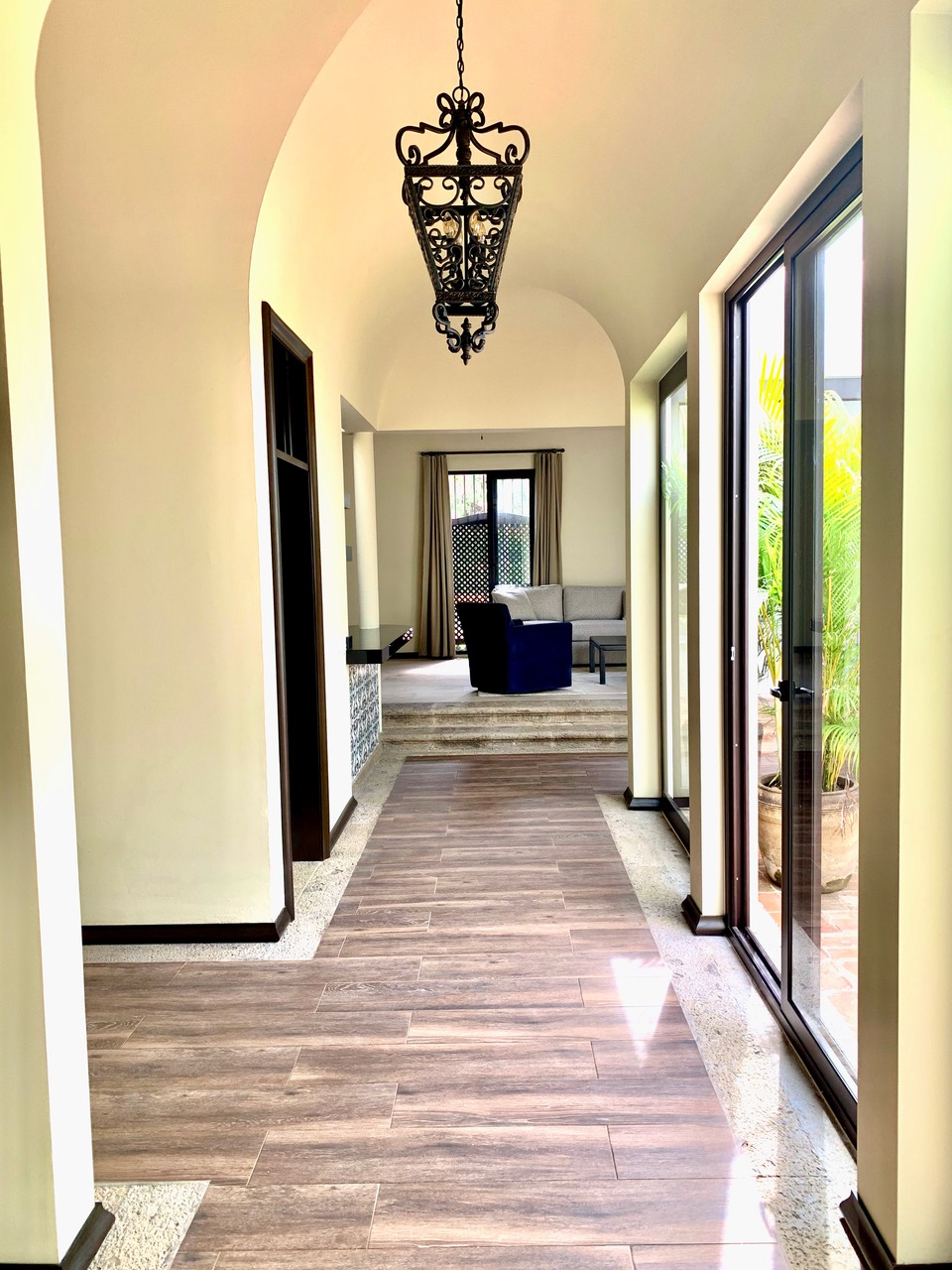 Hallway from living areas to bedrooms.