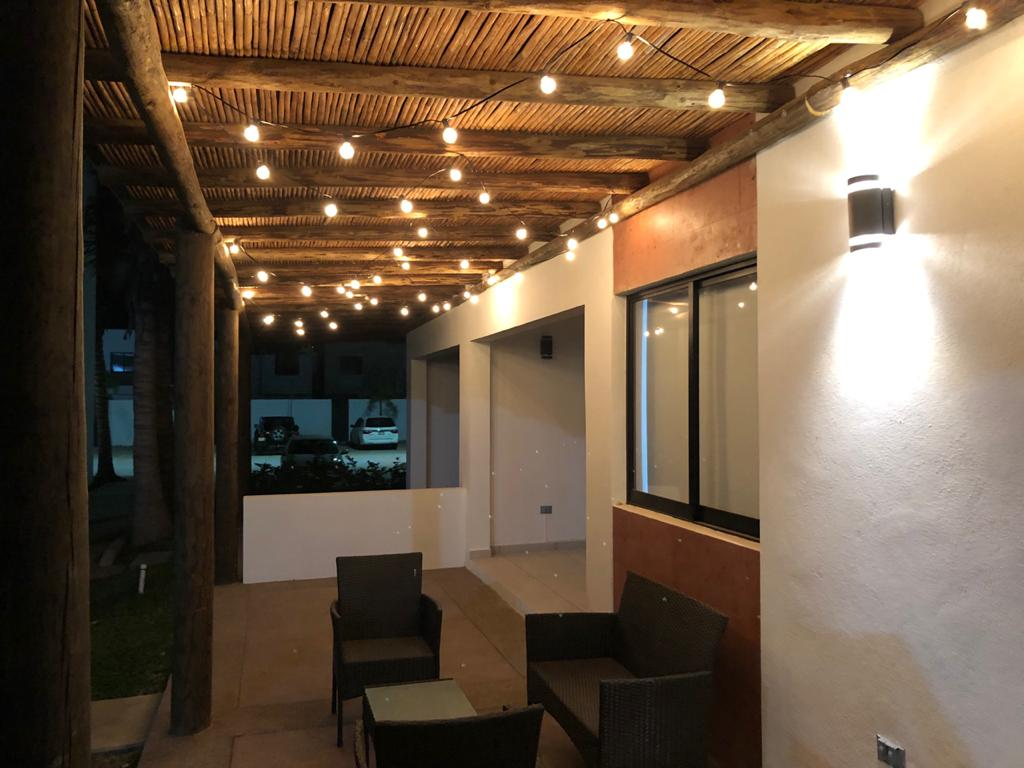Patio lighting at night.