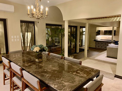Evening view of dining room.