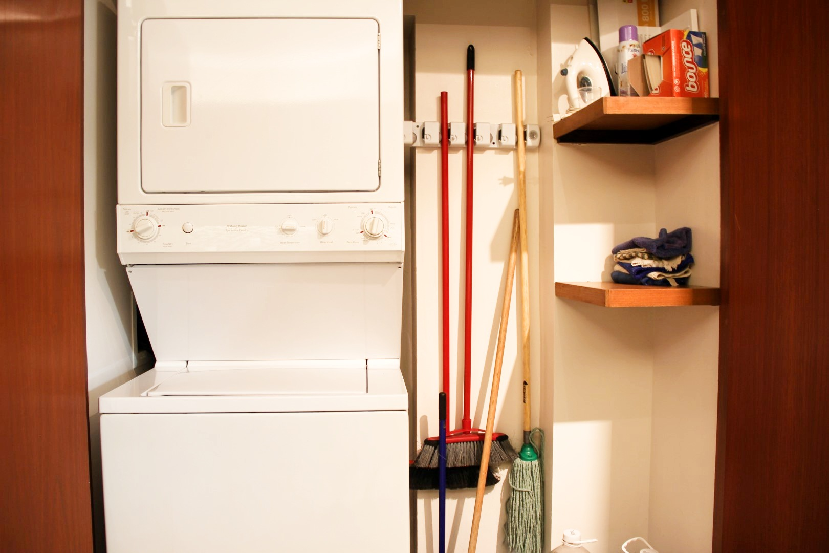 Cleaning closet off of kitchen.