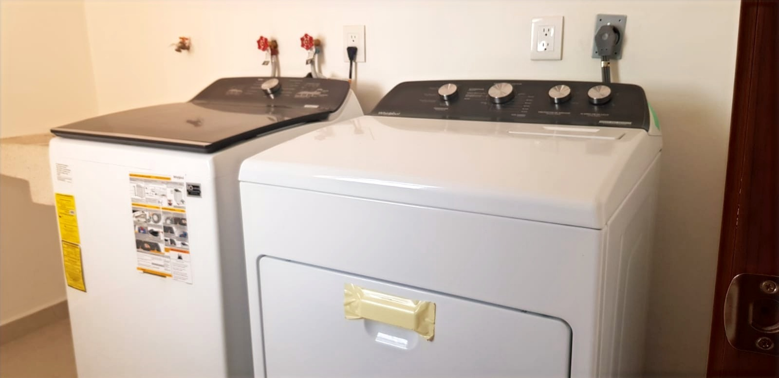 Full-size washer and dryer.