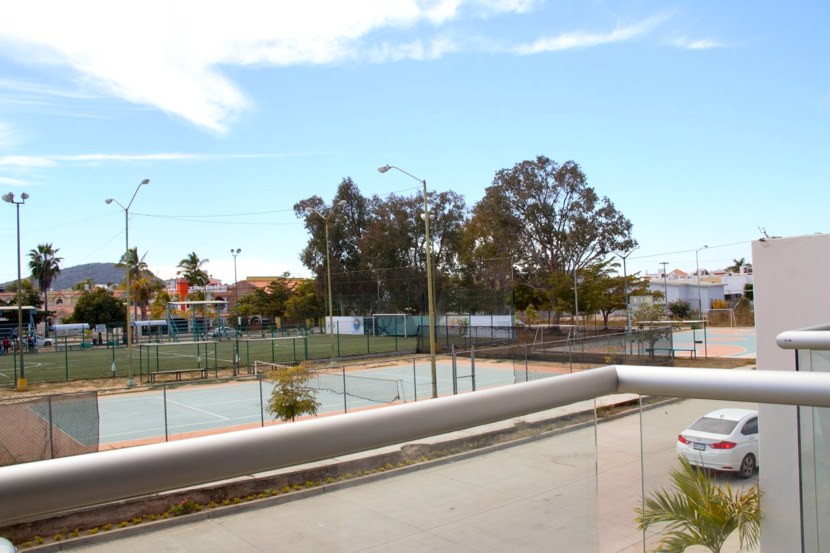 View of sports courts across the street.