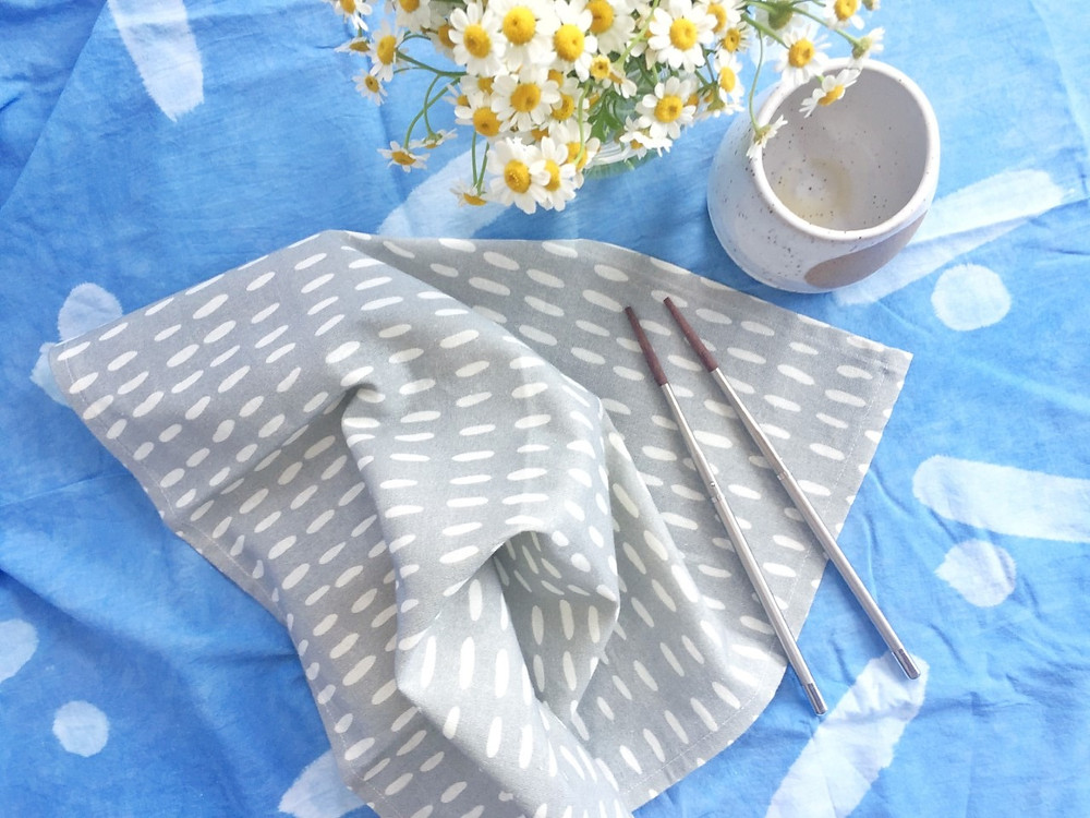 Organic linen cotton napkins printed with KAIKO's Miko design