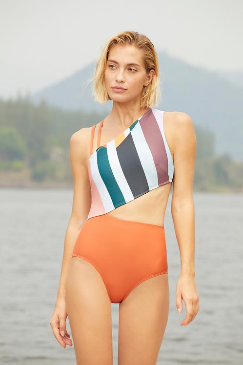 'Mel' One shoulder cutout one piece swimwear