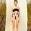 Thumbnail: 'Lula' Ruched braid one piece swimwear in Midnight/Sunrise spectrum (CREX203)