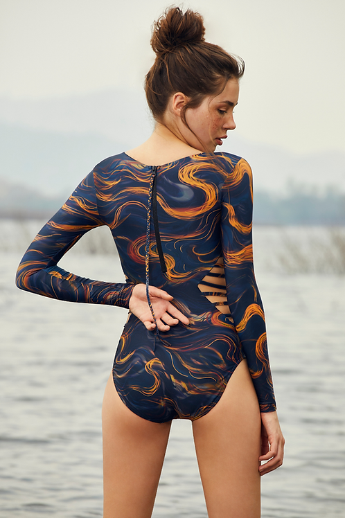 'Zuri' Night Wave sided cut out surf suit in Nightwave (CREX209)