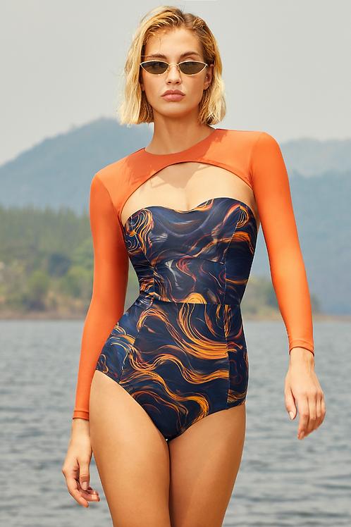 'Liche' Corset one piece swim with arm sleeves in Nightwave/Tangerine (CREX214)