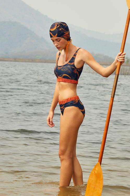 'Mena' Crop top two piece bikini in Nightwave/Tangerine (CREX194)
