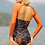 Thumbnail: 'Liche' Corset one piece swim with arm sleeves in Nightwave/Tangerine (CREX214)