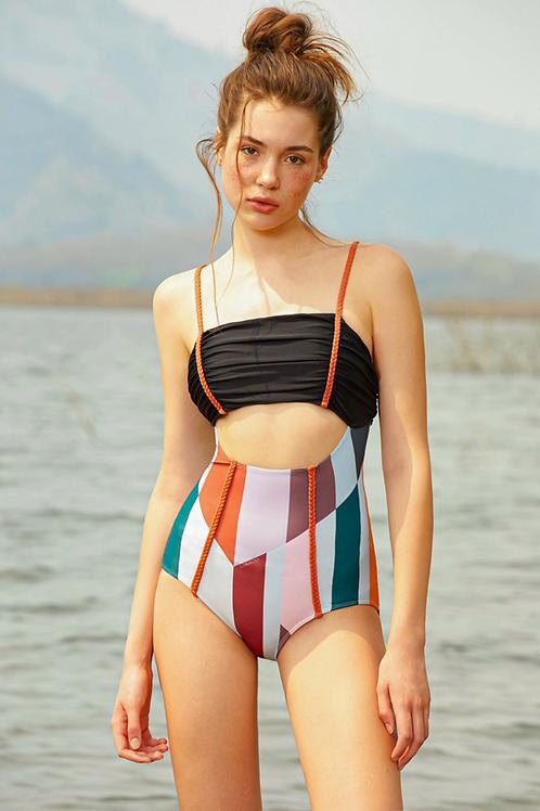 'Lula' Ruched braid one piece swimwear in Midnight/Sunrise spectrum (CREX203)