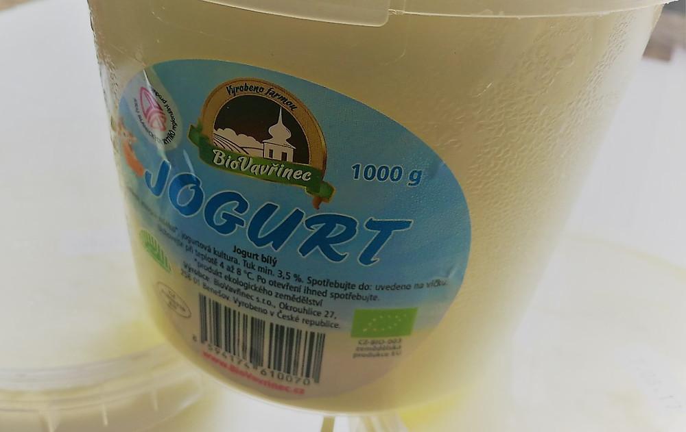 Jogurt bílý z farmy Bio Vavřinec před lyofilizací