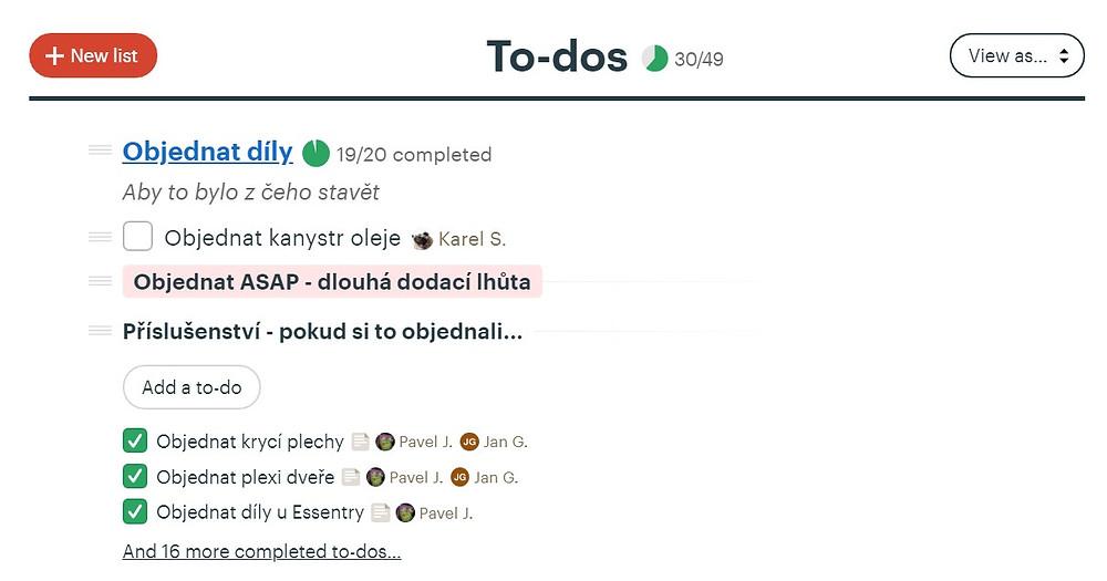 Seznam úkolů v aplikaci Basecamp