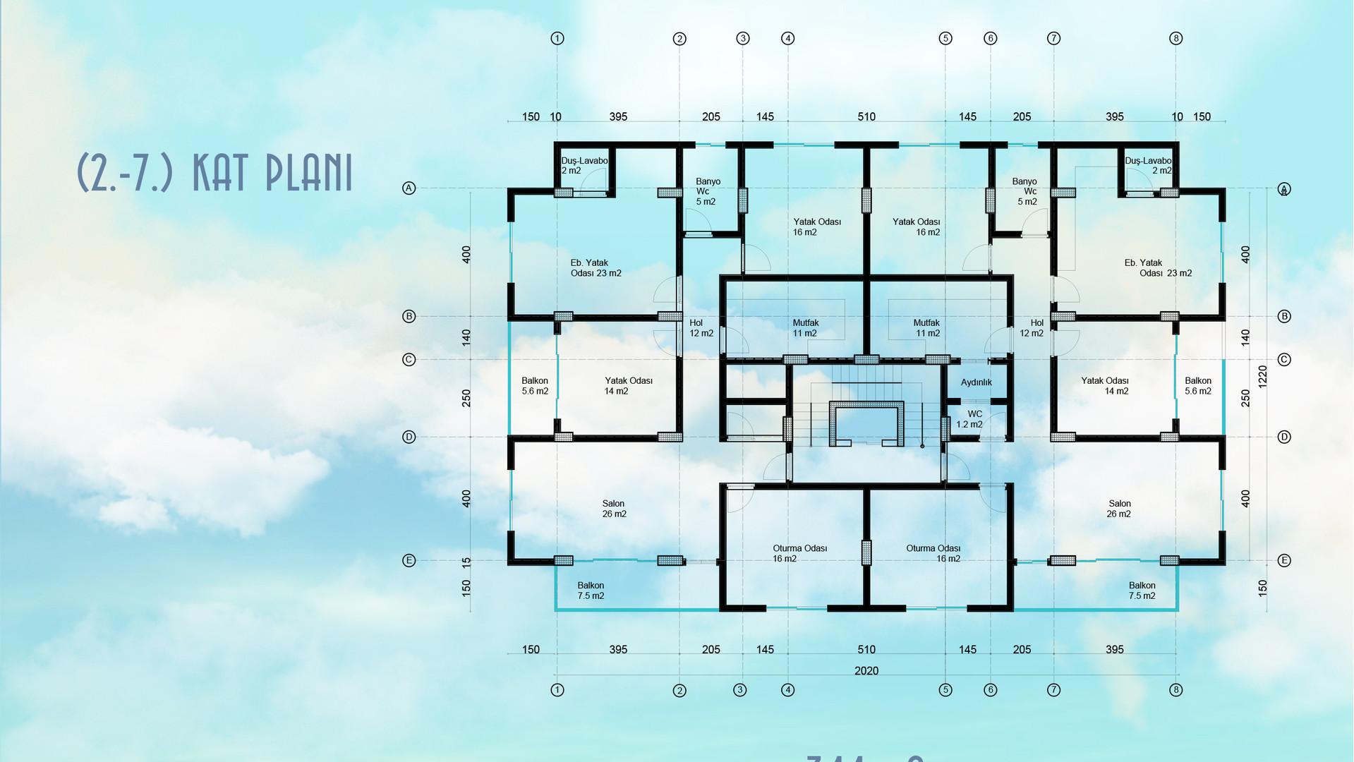 2 ve 7.Normal Kat Planı