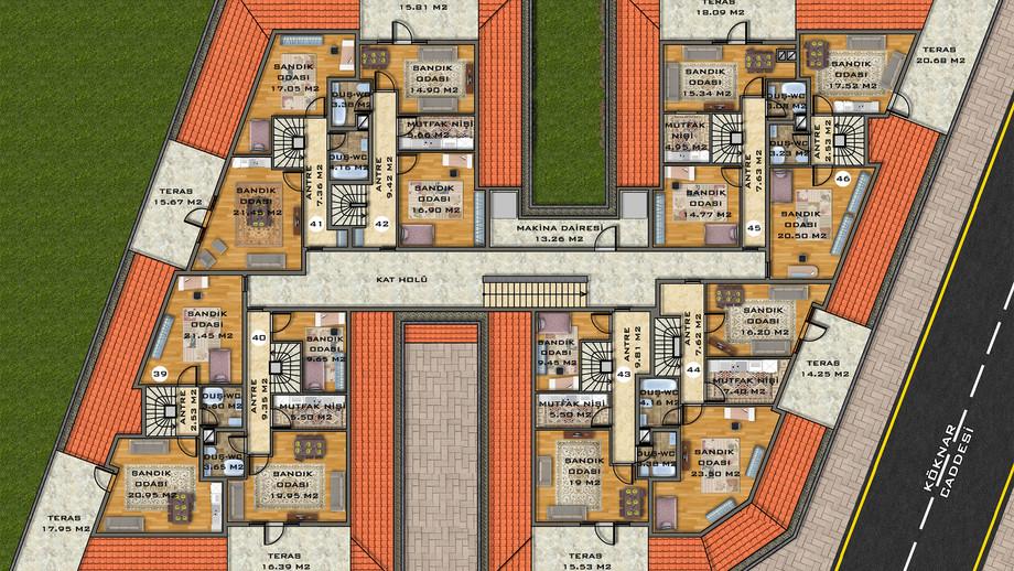 Çatı Arası Kat Planı