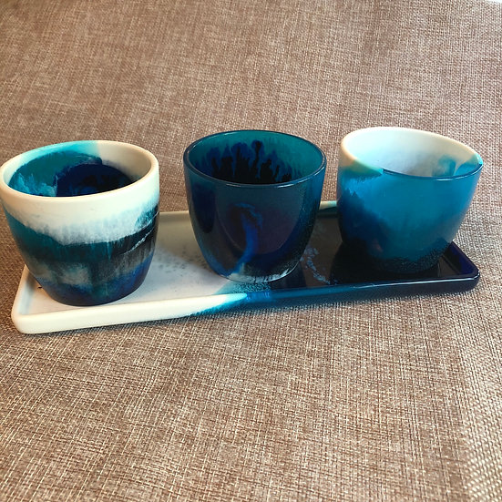 Artisan Resin Pots and Tray