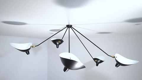 Serge Mouille Five Arm Ceiling Lamp Product Video
