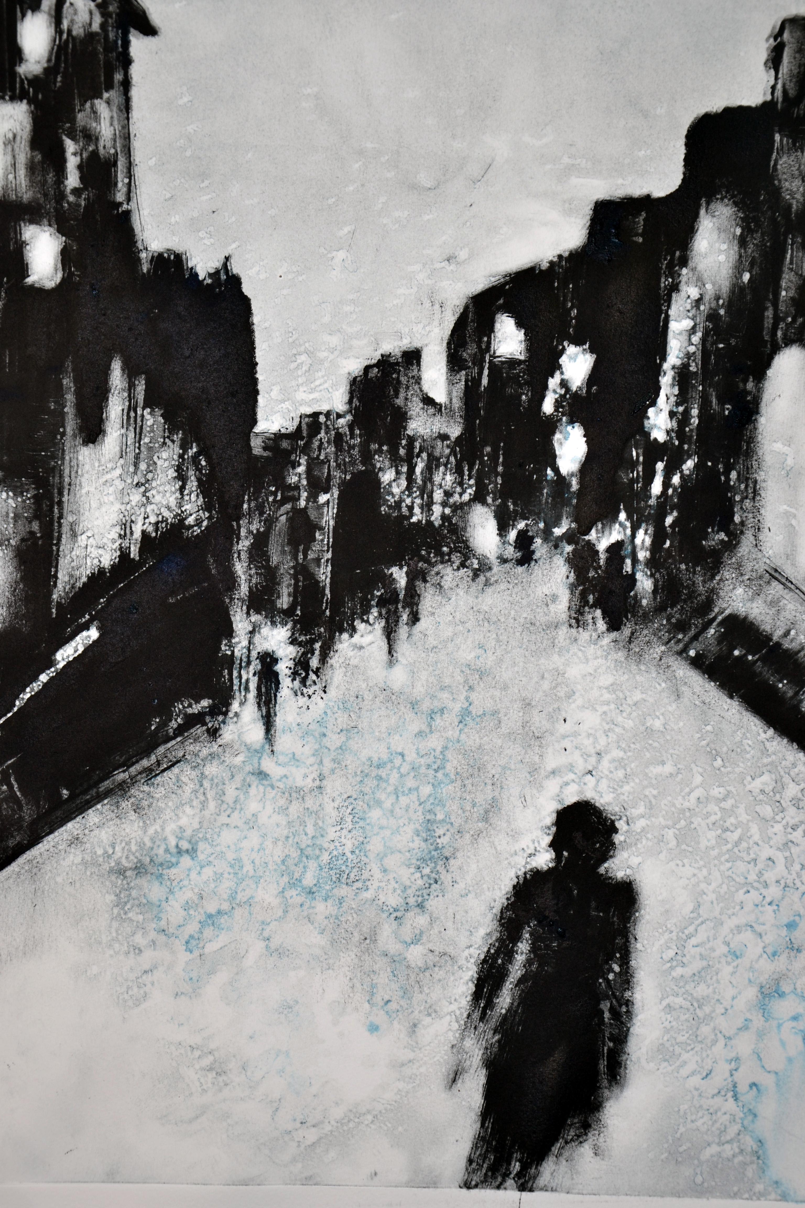 une ville, la nuit - monotype 2015