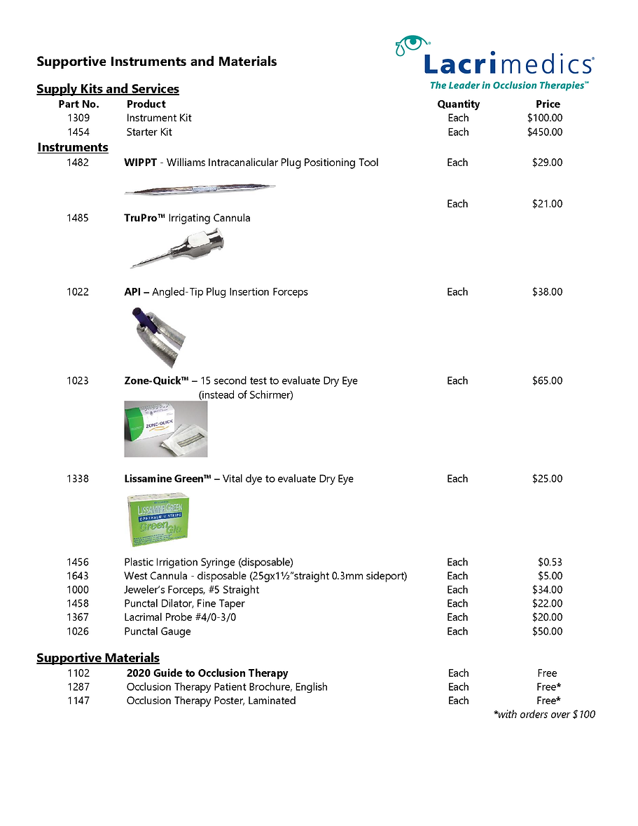 ACCESSORIES ONLY - RETAIL PRICE LIST 060