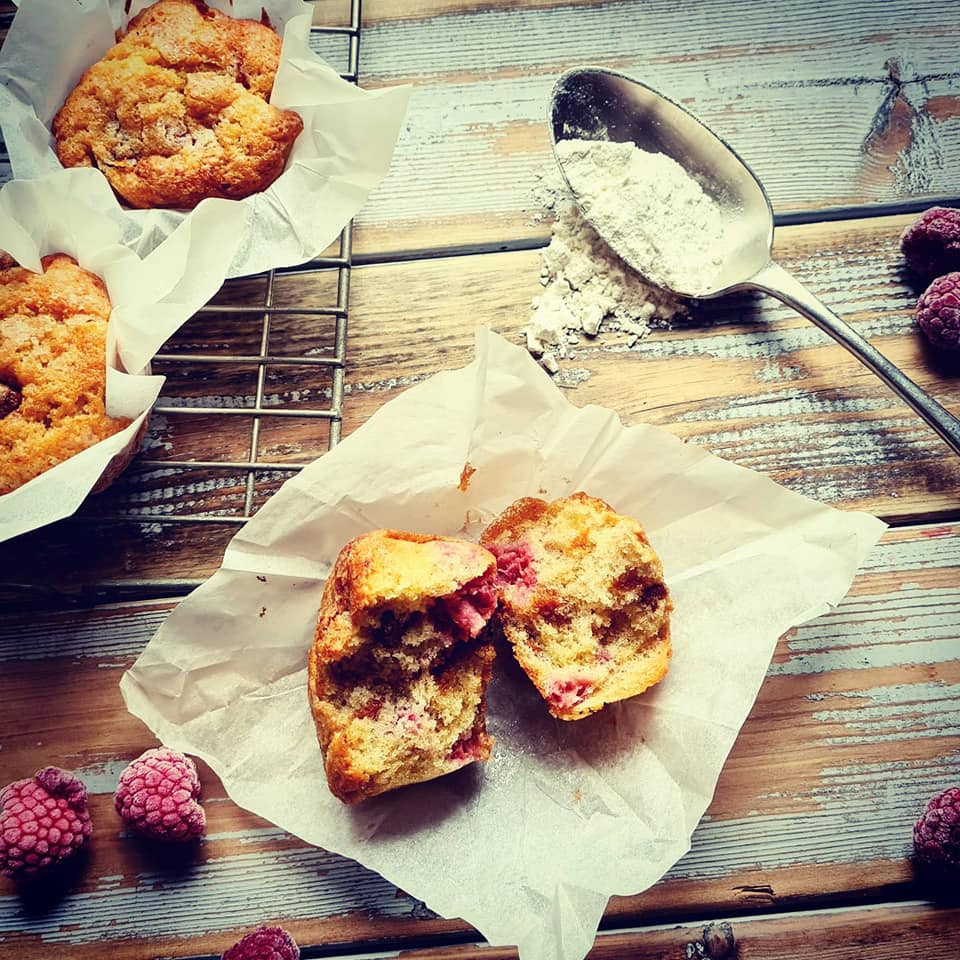 Raspberry and brown cheese muffins