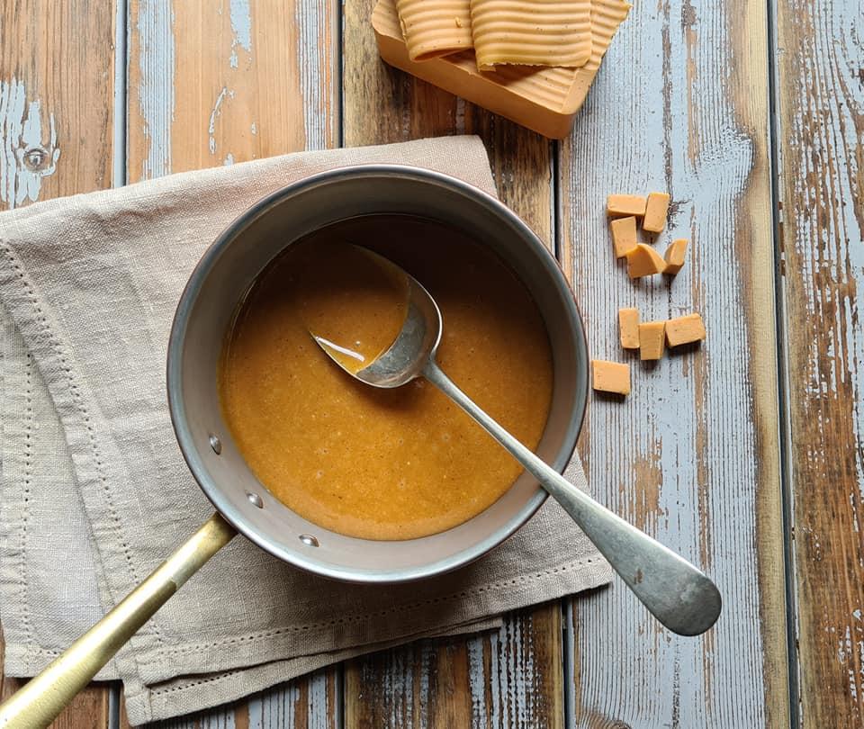 Norwegian brown cheese in pan