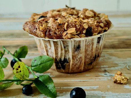 Blueberry Muffins with Wood Sorrel Streusel